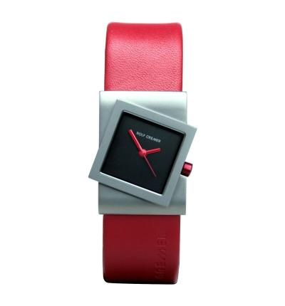 rot/schwarze Rolf Cremer Damenuhr Turn 491818 mit roter Uhrkrone