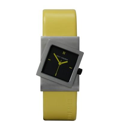 gelbe Rolf Cremer Damenuhr Turn 492354, gelbes Lederarmband mit schwarzen Zifferblatt und gelben Zeigern