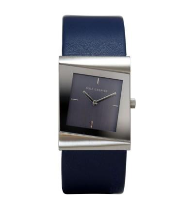 dunkelblaue Rolf Cremer Damenuhr Style 500009 mit teilverspiegelten Zifferblatt